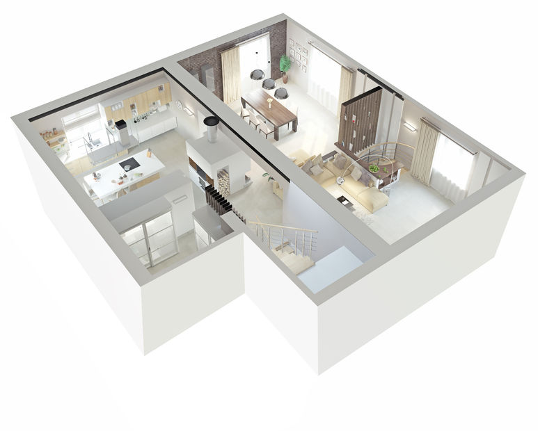 29392456 - plan view of an apartment.ground floor. clear 3d interior design.
