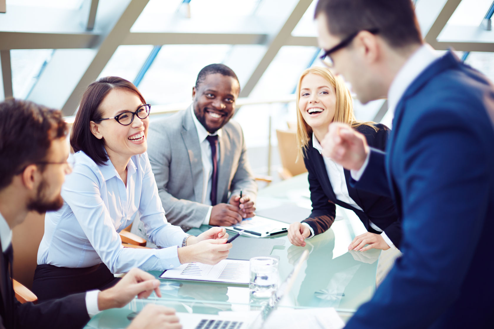 37750752 - business people laughing together at meeting