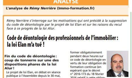 Immo-formation publie un article dans la revue juridique immobilière JURIShebdo !