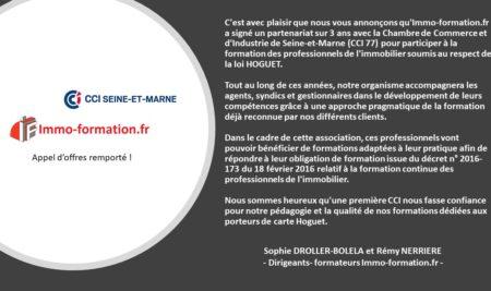 [COMMUNIQUE DE PRESSE] Formation agent immobilier – la CCI et Immo-formation.fr partenaires